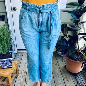 $200 Joie High Belted Jeans Slightly Cropped 4